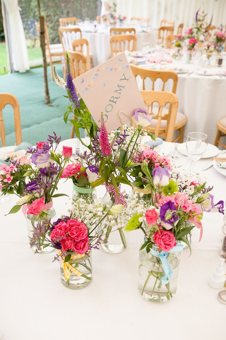 Ribbons Jar Flowers Centrepiece Pretty Summer English Blooms Relaxed Fun Home Made Back Garden Wedding http://www.rabbitandporkphotography.com/