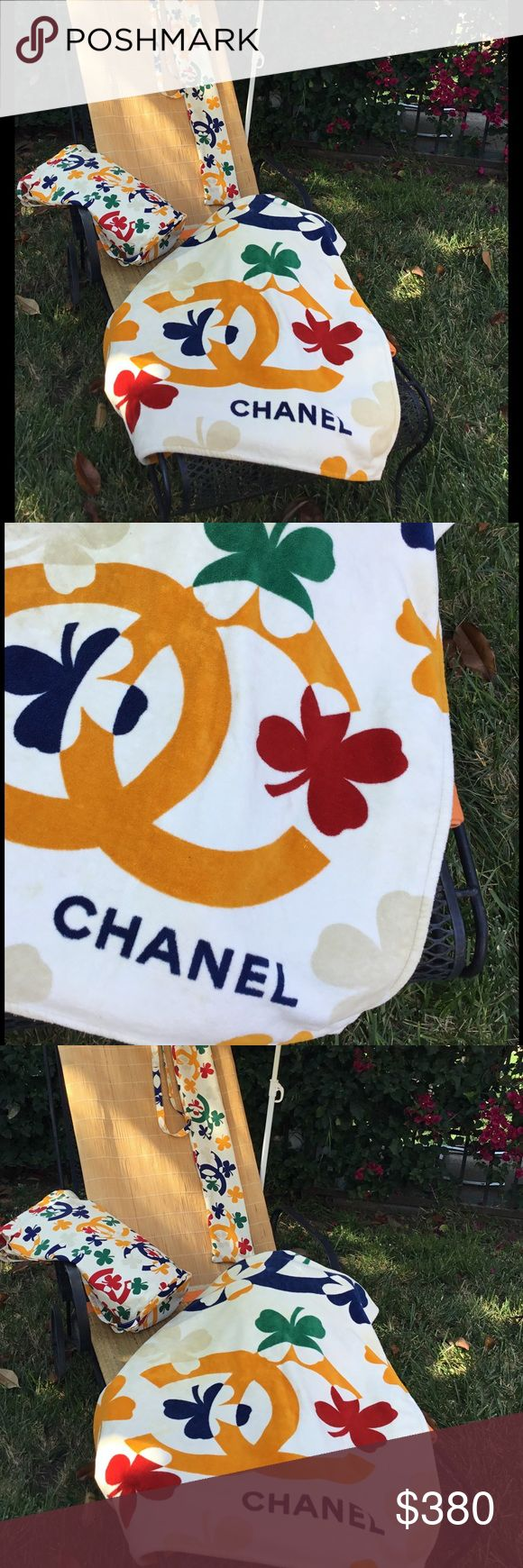 Authentic Chanel Beach Towel Chanel Multicolored Terry Cloth Clover Print Beach Towel and Matching Bag. CHANEL Accessories