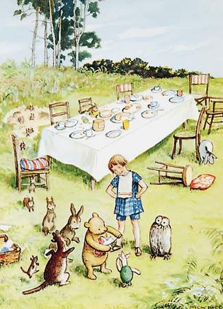Pooh and Friends Tea Party Vintage Print This original antique Classic Pooh print features Pooh Bear, Christopher Robin and Piglet, with Owl, Rabbit and Kanga looking on, the Tea Table is in the background.