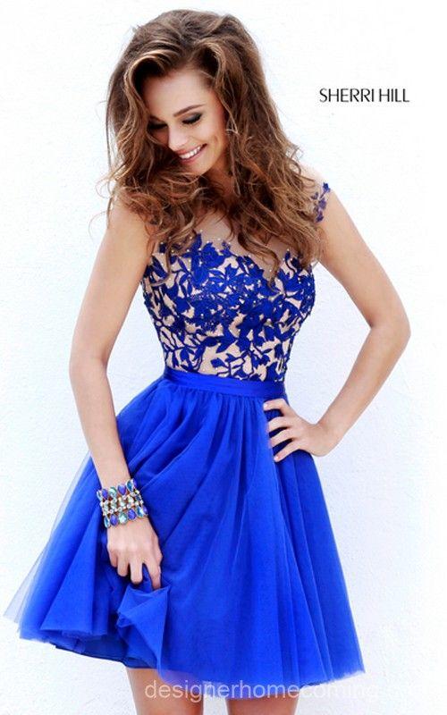 Blaue Patchwork Spitze Grenadine Kleid