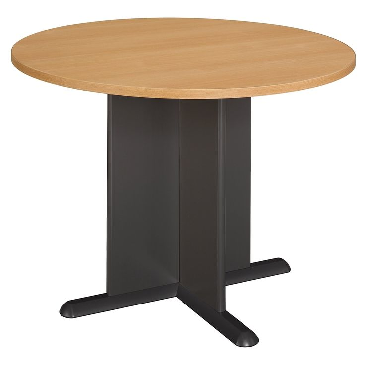 Bush Business Furniture 42 Inch Round Conference Table in Light Oak