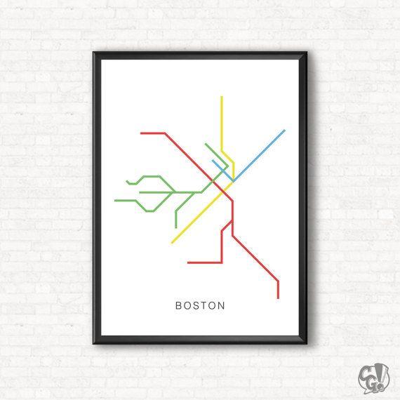 Boston City Transit Map Poster - A Graphic Design Illustration Print of City Subway Metro Line Art, Public Transit - Color Line Art Design