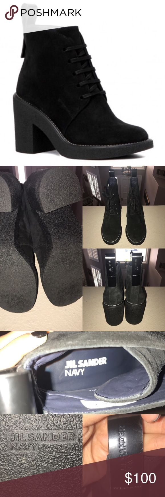 Jil Sander Black Suede Lace Up Booties Purchased in January 2017 from Galaries Lafayette in Berlin, Germany. They are are in perfect condition, were worn only once by my sister for maybe 45 minutes or so but didn't fit her properly & the store had a no return policy so she had to keep them & now they've just been sitting in her closet. I would recommend for those who wear size US 8 or 8.5  I bought them originally for 310 euros which is about $350. NO TRADES!! NO MODELING!! PRICE IS FAIR…