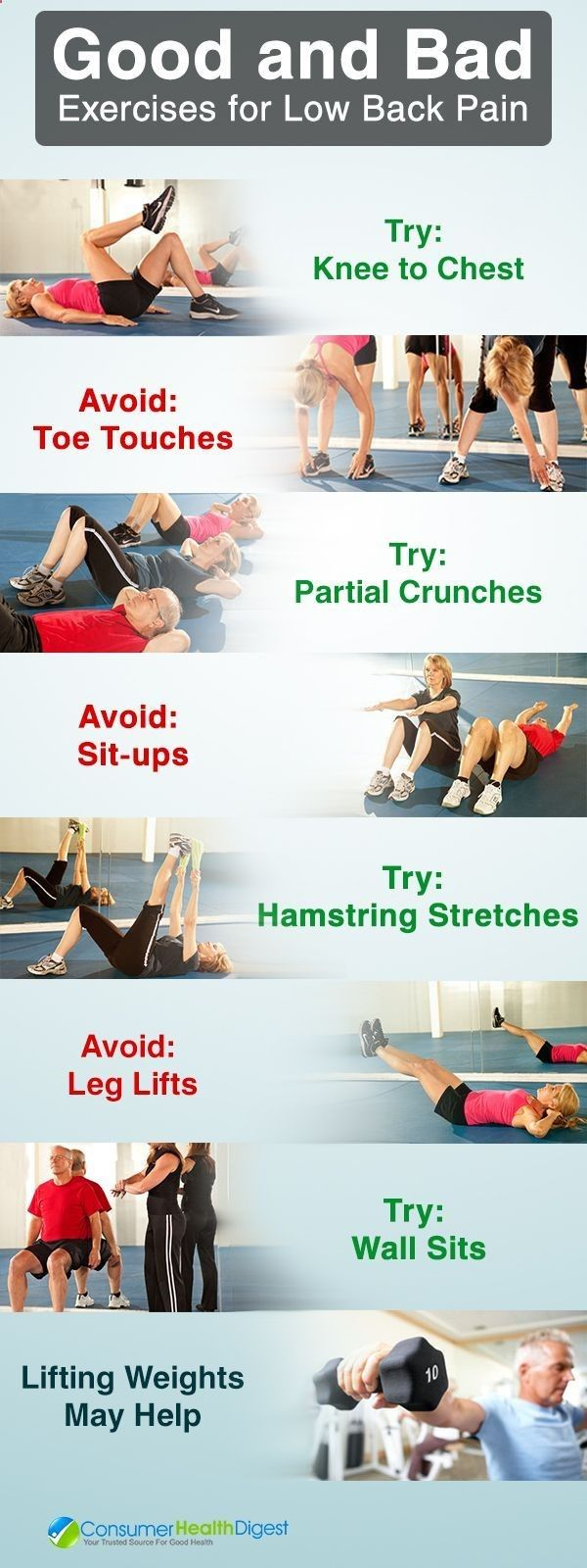 Excersices For Legs At Home and At The Gym - Causes and Treatment to Reduce #backpain   Exercises for lower back pain can strengthen back, stomach, and leg muscles. They help support your spine, relieving back pain. Always ask your health care professional before doing any exercise for back pain. - Strengthening our legs is an exercise that we are going to make profitable from the beginning and, therefore, we must include it in our weekly training routine