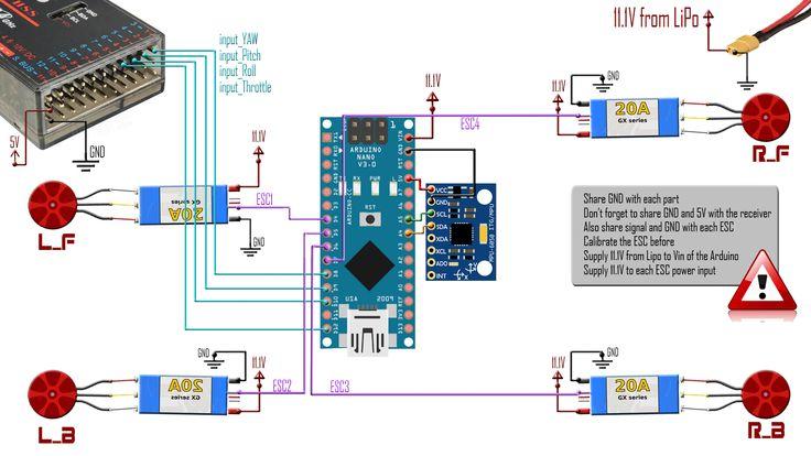 Arduino Quadcopter Wiring Diagram   Arduino quadcopter