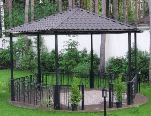 Беседки садовые деревянные, кирпичные, кованые, из поликарбоната; как сделать своими руками; крыша садовой беседки, фото