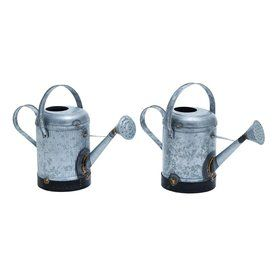 Woodland Imports Set Of 2 0.5-Gallon Galvanized Metal Traditional Watering Cans 38162