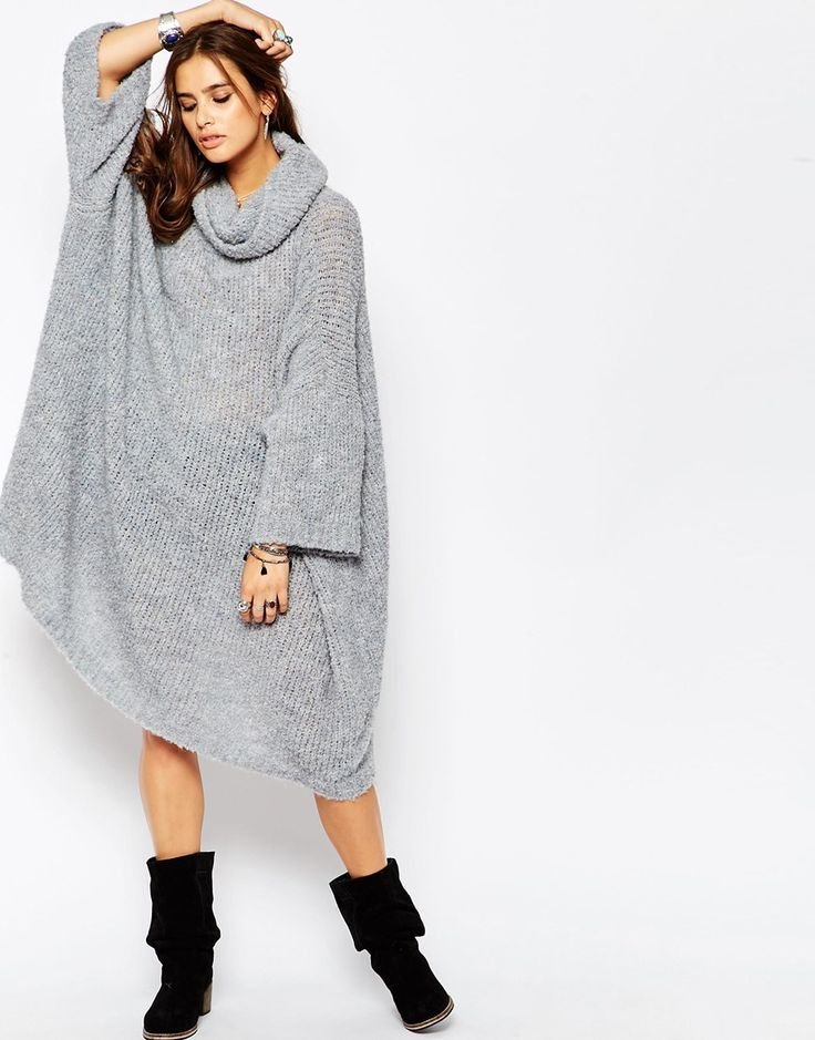 Free People Extreme Cowl Oversized Jumper Dress in Light Blue