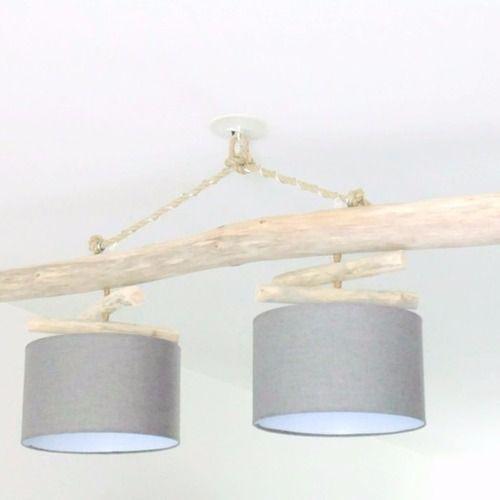 Lustre plafonnier en bois flott gris 30 cm unique for Lustre double suspension