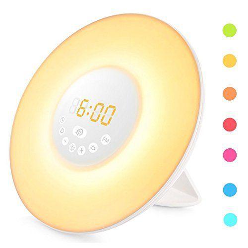 Lampe de Réveil,Cadrim Lampe de Chevet Simulation d'Aube 6 Alarmes avec Son Nature,7 Couleurs de Lumière,Veilleuse LED Horloge Alarme…