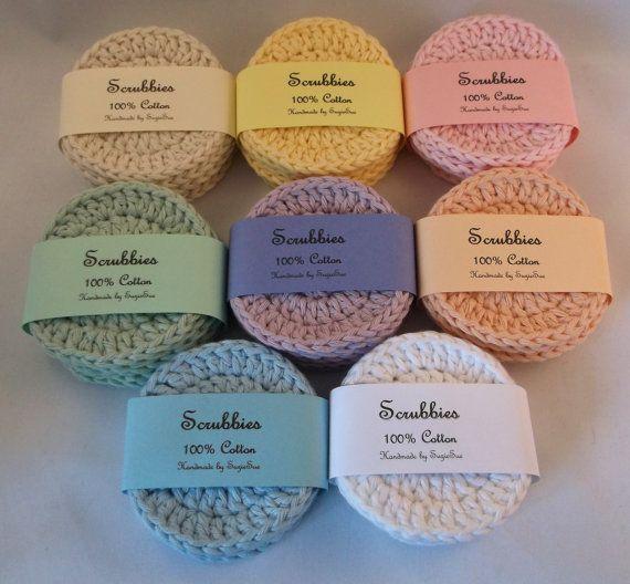 Crocheted Face Scrubbies - 100% Cotton,Crochet Scrubbies, Facial Cloths, Facial Scrubbies, Cotton Face Scrubbies, makeup pads