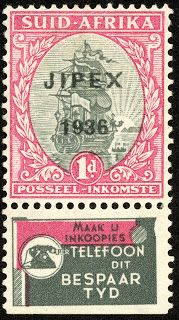"Union of South Africa 1936 Scott 73 1d carmine & gray (Single from ""Jipex 1936"" Souvenir Sheet). From booklet panes of 6, marginal ads: Scott 48j."