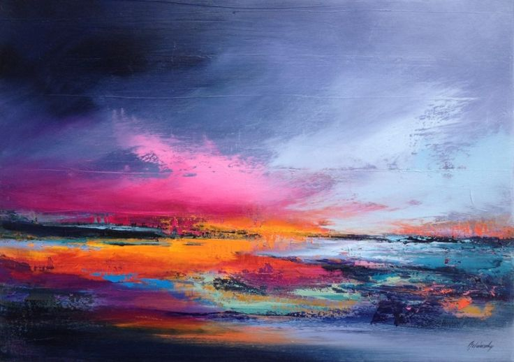 Gnossiennes II - 50 x 70 cm, abstract landscape oil painting, gray, purple, magenta, pink, orange (2016) Oil painting by Beata Belanszky Demko | Artfinder
