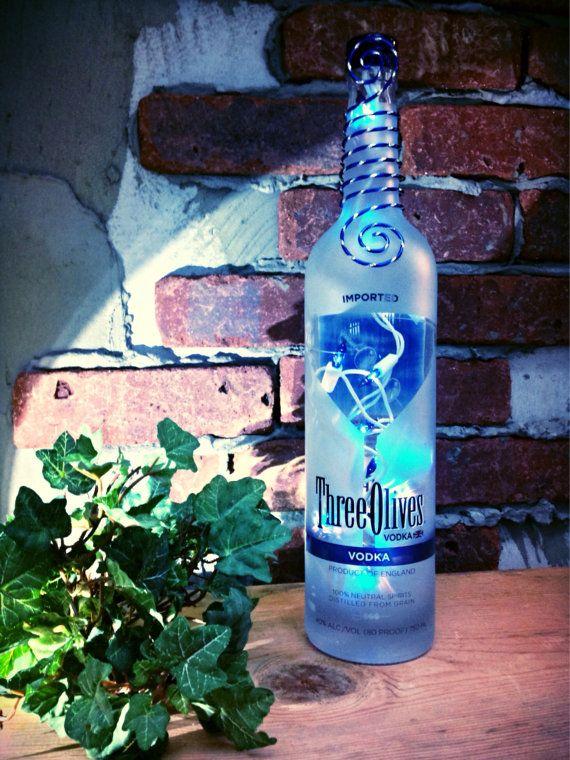 Three Olives Vodka Bottle Light Lamp  martini holiday gift blue light  bar themed decor man cave Jack Daniels Wine Light Whiskey Booze
