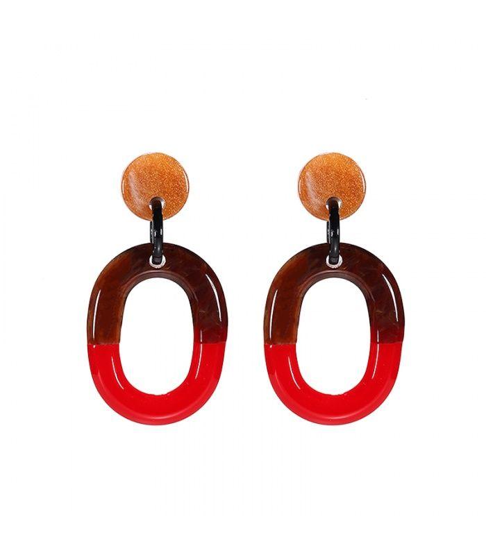 Mooie rode oorbellen met ovale hanger|Mooie oorbellen koop je online | Yehwang fashion en sieraden