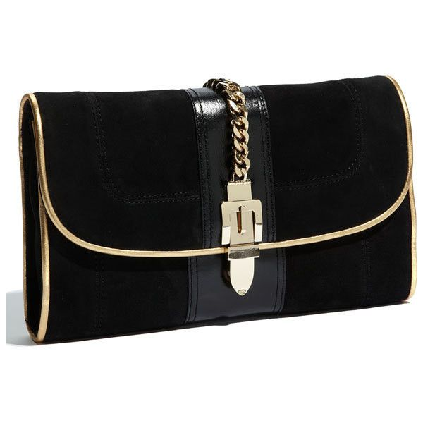 Milly 'Victoria' ClutchBlack Clutches, Chains Details, Victoria Clutches, Awesome Handbags, Gold Clutches, Beautiful Bags, Clutches Bags, Millie Victoria, Basic Black