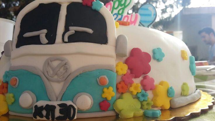 τούρτα cake λεωφορείο vw με ζαχαρόπαστα τουρτα λεωφορειο ζαχαροπαστα