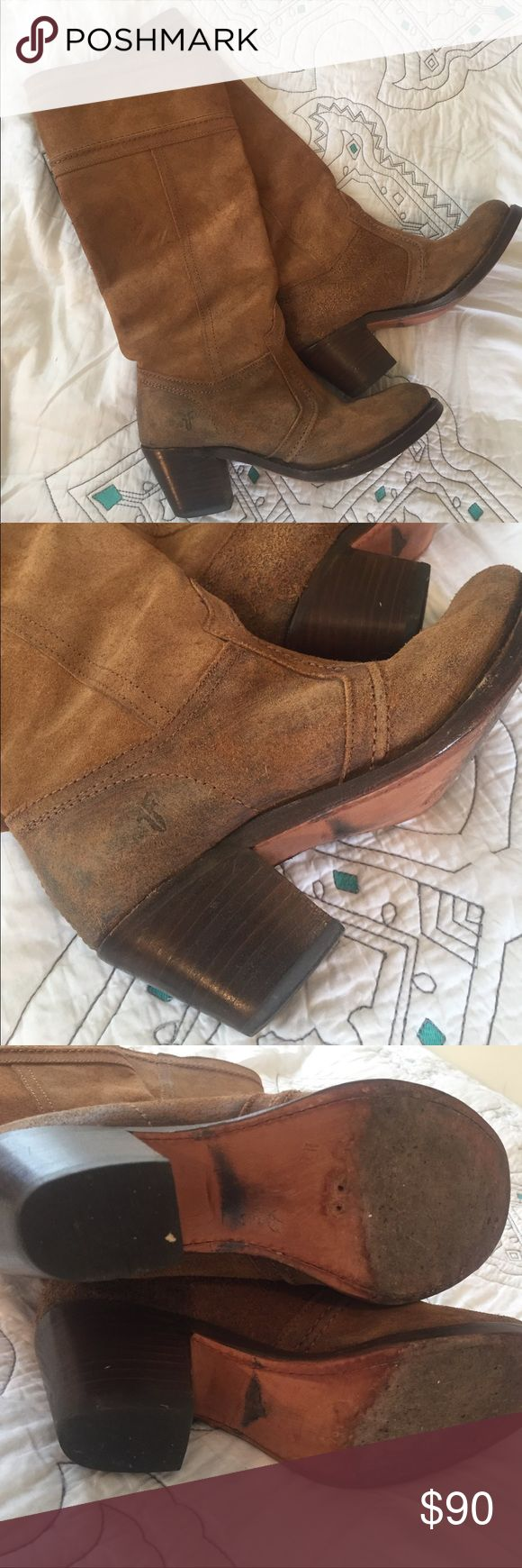 "Frye riding boots 🐴 Frye sueded riding boots. Gently worn, still in excellent condition. There is some blue dye that has rubbed off on the inside of the boot from being worn with jeans. These have a 13"" shaft height and a 2.5"" heel. Great transition boots. Frye Shoes Heeled Boots"