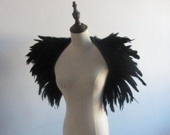 Zwarte veren omslagdoek schouderophalend van feathesforsale op Etsy