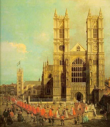 [기사의 작위식 :카날레토]  해제: 웨스트민스터 사원의 풍경이다. 웨스트 민스터 사원은 런던의 유명한 고딕 양식의 성당으로 하늘을 찌를듯한 웅장함과 장엄함으로 유명하다.  감상: 고딕양식을 중세의 구세대적 유물로 취급하면서 좋지 않게 보는 경향이 있다. 하지만 나의 견해는 약간 다르다. 고딕양식의 찌를듯한 탑과 웅장한 건축 인테리어는 거대한 에너지의 원천이 되어 나의 삶에 큰 원동력이 되어 주기 때문이다.