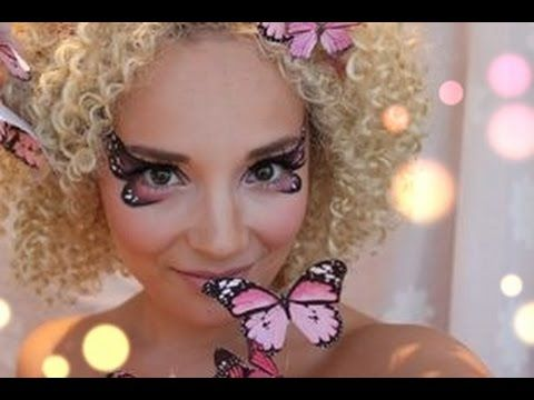 Pink Butterfly Makeup tutorial ( + DIY butterfly head piece) Miss Make Over - YouTube