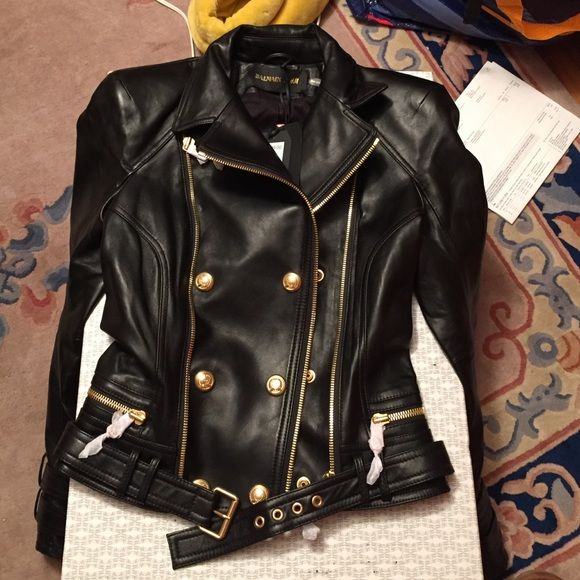 Balmain x H&M Black and Gold Leather Jacket Authentic Balmain x H&M Leather Moto Jacket. Brand new with tags, never worn, comes with dust bag. Size 4. Balmain Jackets & Coats