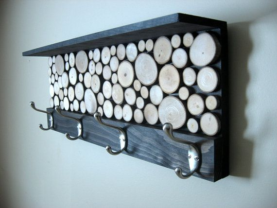 Rustic Modern Coat Rack with Hooks and Shelf  by ModernRusticArt, $145.00