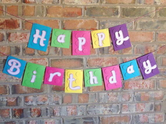 Bandera LEGO ~ LEGO amigos feliz cumpleaños Banner ~ decoración ~ Lego Garland ~ Lego inspirado ~ Bloque ~ ladrillo Banner ~ cumpleaños Popular
