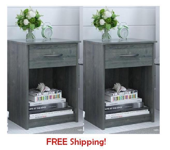 End Tables Nightstand Set of 2 Oak Furniture Wood Drawer Bedroom Side room #Mainstays