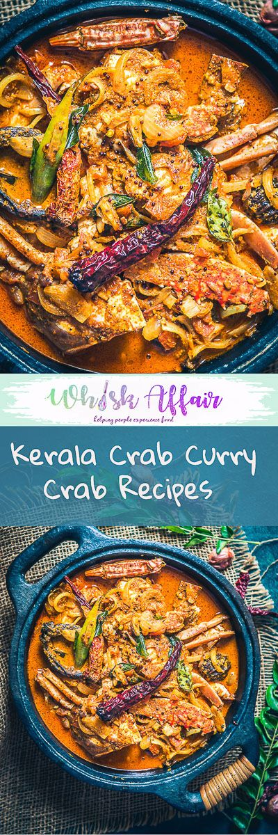 Kerala Crab Curry or Njandu Curry is crab cooked with spices & cooconut milk. There is a hint of sour from Kudampuli which gives it a very traditional taste. #Crab #KeralaRecipes #CrabCurry via @WhiskAffair