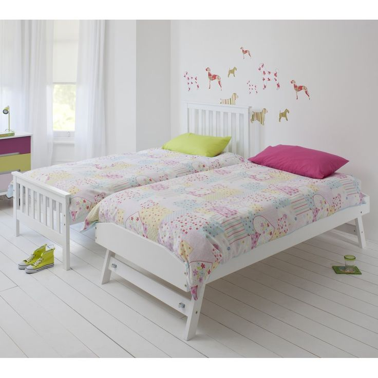 White Single Bed Uk Part - 32: Single Millie Bed In White With Trundle Extra Sleepover Bed 2 In 1