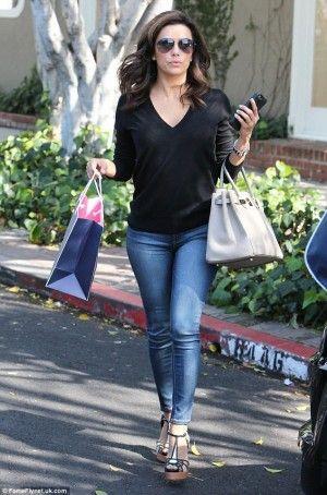 Eva Longoria wearing Hermes Birkin Bag and Victoria Beckham Classic Victoria Black Leather Sunglasses