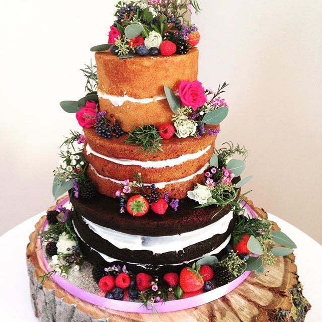 Naked cake by Mandy Pryor. Chocolate guiness cake, carrot cake, lemon sponge all with cream cheese frosting. Look and tasted divine!