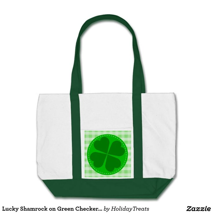 Lucky Shamrock on Green Checkered Background Impulse Tote Bag