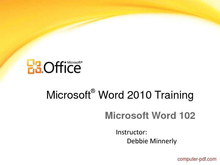 Download free course material Microsoft office Word 2010 training (PDF file 27 pages)