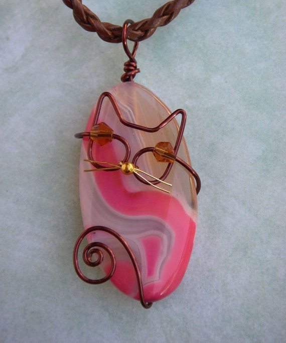 Unique Brown Wire Cat on Pink Agate Pendant Necklace by jillmh123, $12.50