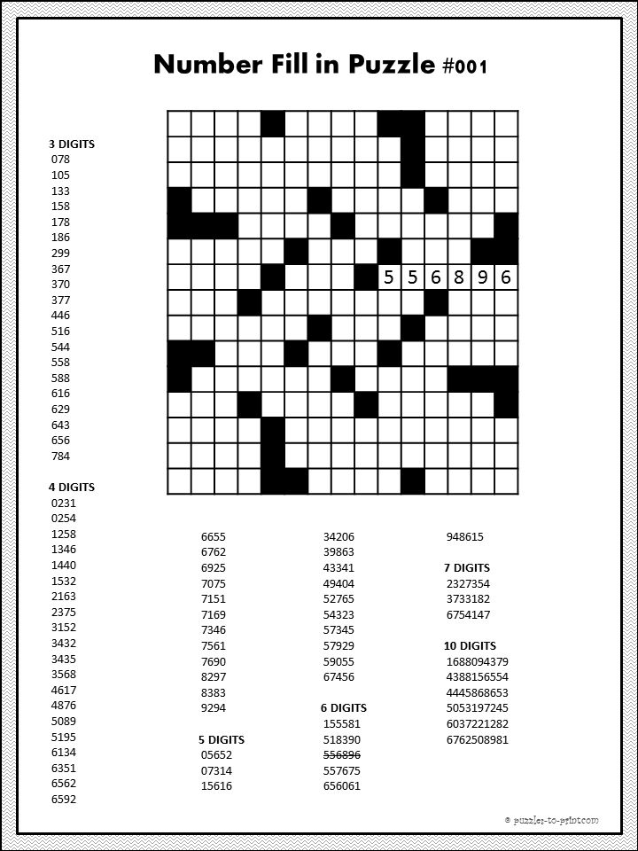 Number fill in puzzles require you to fill a crossword type grid with numbers from the given list.  By gradually whittling the list down, you will fill in the grid.