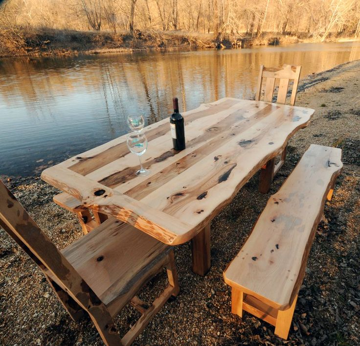 images of rustic dining tables | Hickory Rustic Dining Table Set with Benches | Niangua Furniture