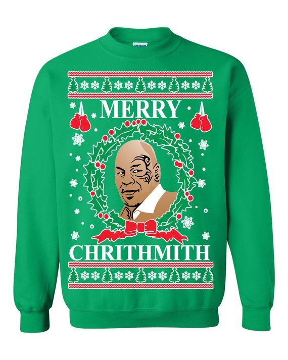 Oncoast Mike Tyson Merry Chrithmith Ugly Christmas Sweater Funny