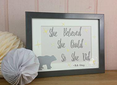 Grizzly Bear Nursery Wall Art | Grey Yellow | Kids Room