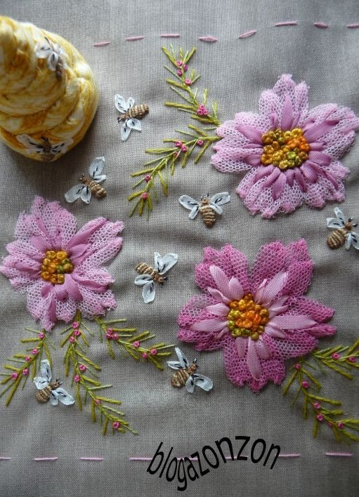 """I ❤ ribbon embroidery . . . SIDE HIVE- (translated) Do you know the saying: """" Bees in May worth a louis d'or, Bees in June, is still lucky . """"  My garden is full of flowers and bees are foraging. The crop looks good!! ~By Leah Stansal, Blog Zonzon"""