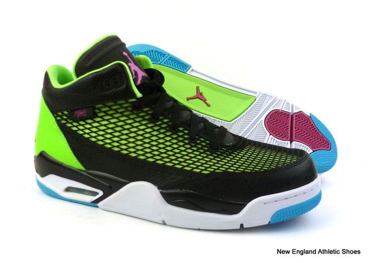 Nike men Jordan Flight Club 80s basketball shoes - Black / Pink / Lime $130 #Nike #BasketballShoes