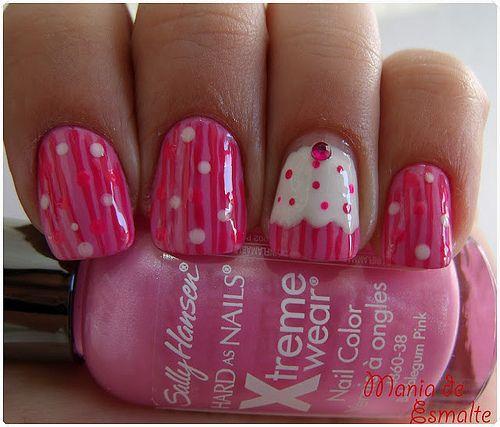 """uñas decoradas con """"cupcake"""""""