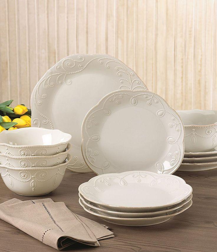 French Perle Scalloped Stoneware 12 Piece Dinnerware Set Dinnerware Lenox French Perle Tableware