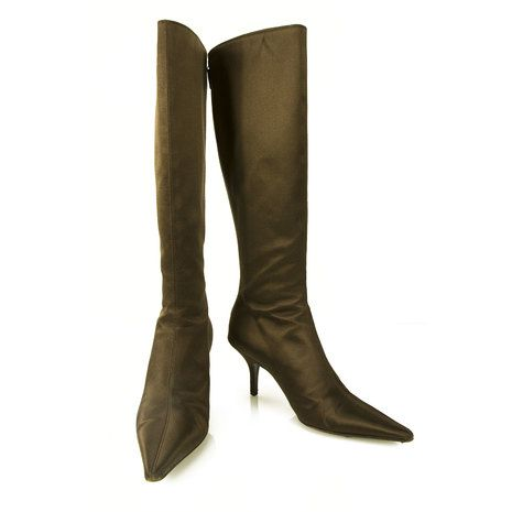 Oscar de la Renta Brown Satin Back Zipper Boots Pointed Toe Shoes size 37
