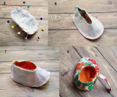 Tutorial cara membuat sepatu bayi dari kain perca 3