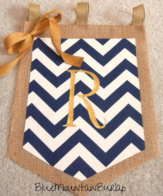 Burlap Chevron Garden Flag with Initial, Nautical Yard Flag by BlueMountainBurlap, $22.00
