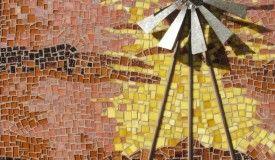 Windmill- hand cut glass mosaic and rotating metal windmill