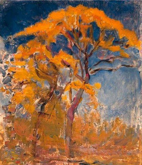 Piet Mondrian, Two trees with orange foliage against blue sky - 1908 on ArtStack #piet-mondrian #art