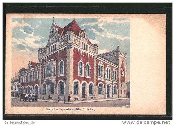 AK Mähr. Schönberg, Deutsches Vereinshaus Mit Pferdegespann - Tchéquie